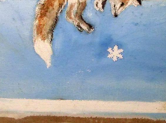 una volpe ed un fiocco di neve